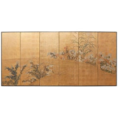 Japanese Six Panel Meiji Screen after Tawaraya Sosetsu