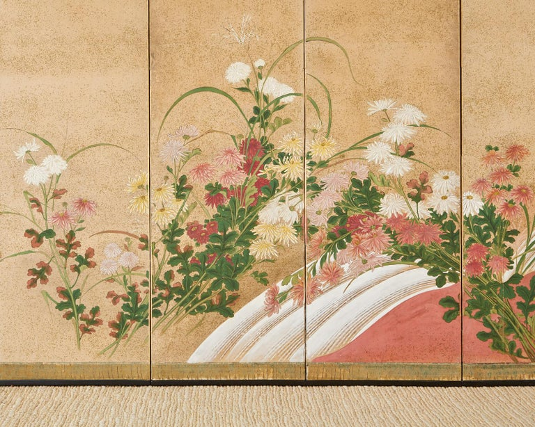 Japanese Six Panel Meiji Screen Chrysanthemums and Waterfall For Sale 4
