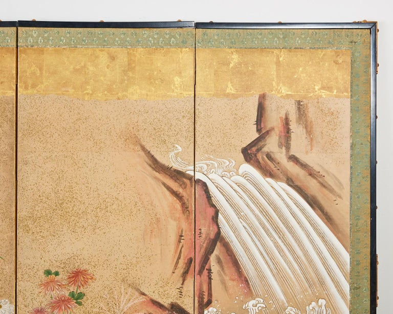 Japanese Six Panel Meiji Screen Chrysanthemums and Waterfall For Sale 5