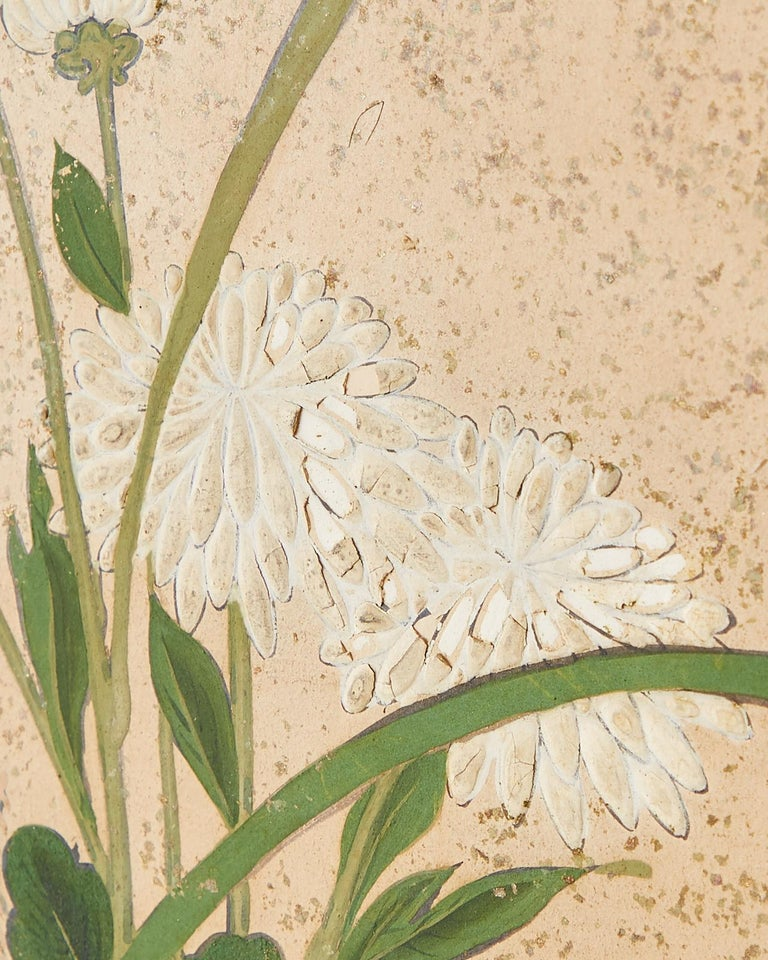Japanese Six Panel Meiji Screen Chrysanthemums and Waterfall For Sale 7