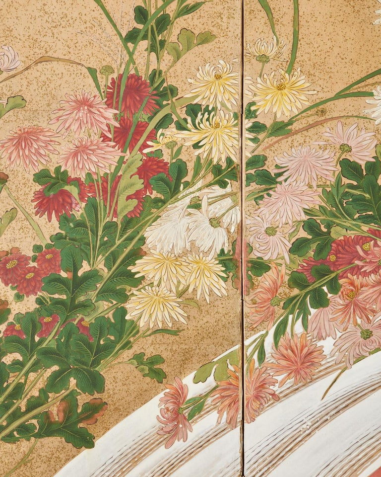 Japanese Six Panel Meiji Screen Chrysanthemums and Waterfall For Sale 8