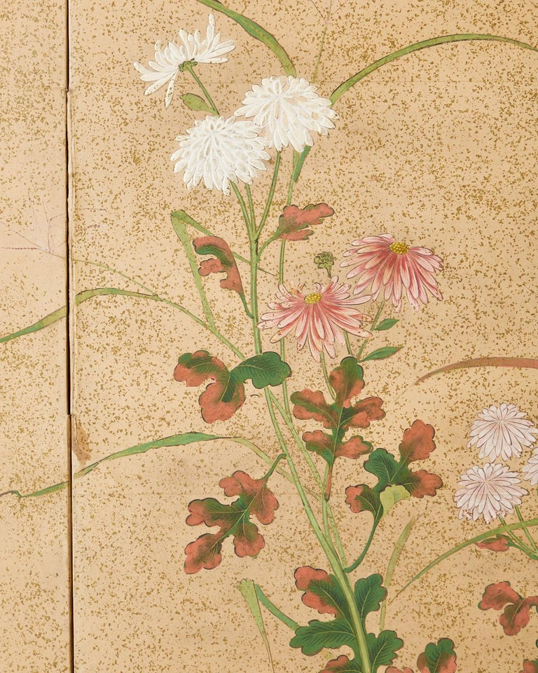 Japanese Six Panel Meiji Screen Chrysanthemums and Waterfall For Sale 12