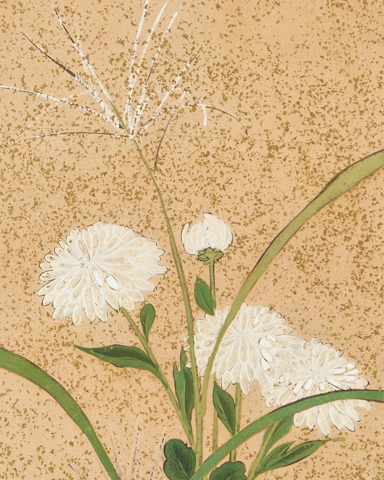 Japanese Six Panel Meiji Screen Chrysanthemums and Waterfall For Sale 13