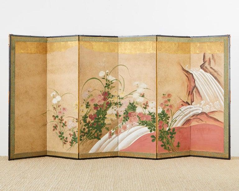 Ebonized Japanese Six Panel Meiji Screen Chrysanthemums and Waterfall For Sale