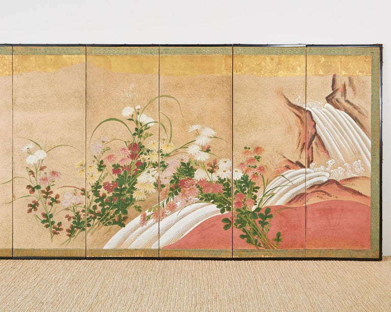 Japanese Six Panel Meiji Screen Chrysanthemums and Waterfall In Fair Condition For Sale In Oakland, CA