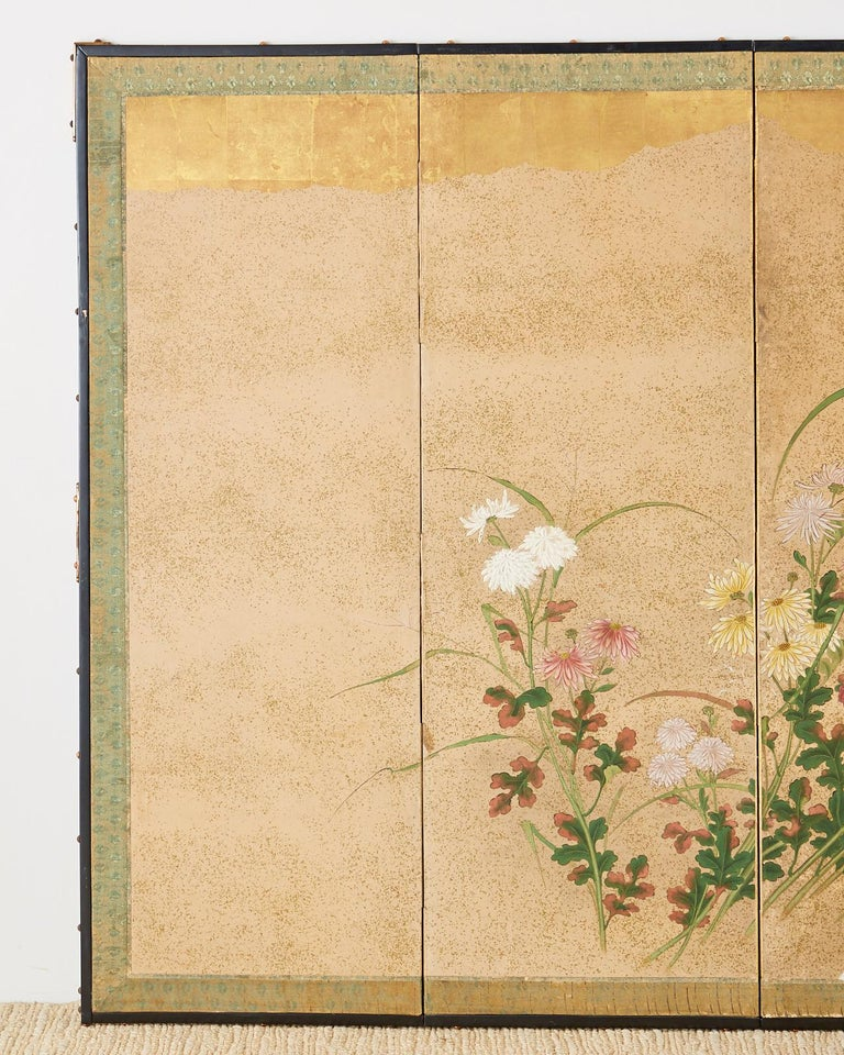 19th Century Japanese Six Panel Meiji Screen Chrysanthemums and Waterfall For Sale