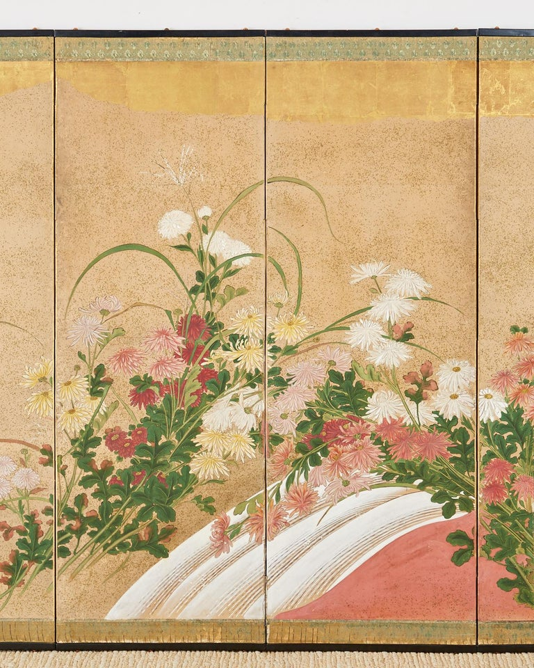 Brass Japanese Six Panel Meiji Screen Chrysanthemums and Waterfall For Sale