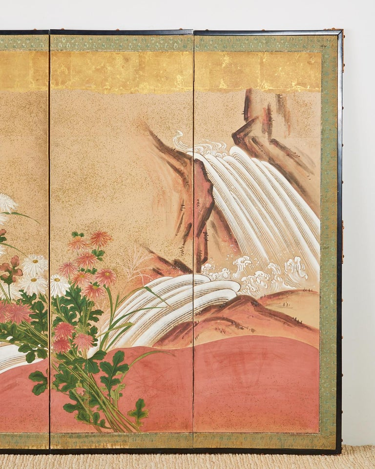 Japanese Six Panel Meiji Screen Chrysanthemums and Waterfall For Sale 1
