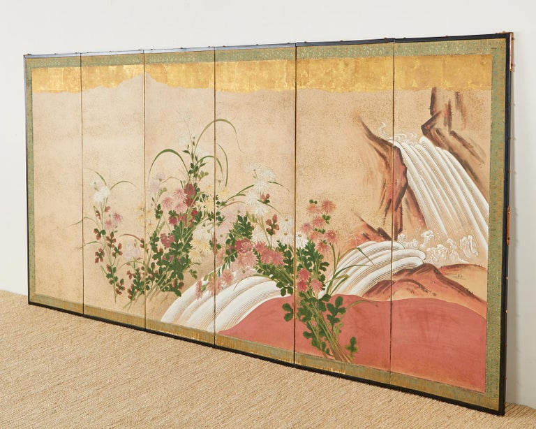 Japanese Six Panel Meiji Screen Chrysanthemums and Waterfall For Sale 2