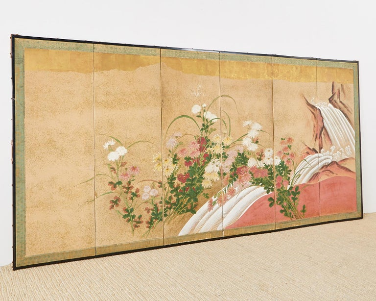 Japanese Six Panel Meiji Screen Chrysanthemums and Waterfall For Sale 3