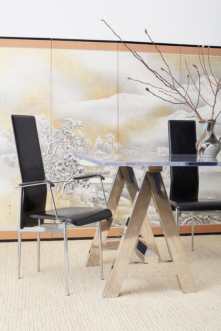 Japanese Six-Panel Meiji Screen Kinkakuji in Winter For Sale 4