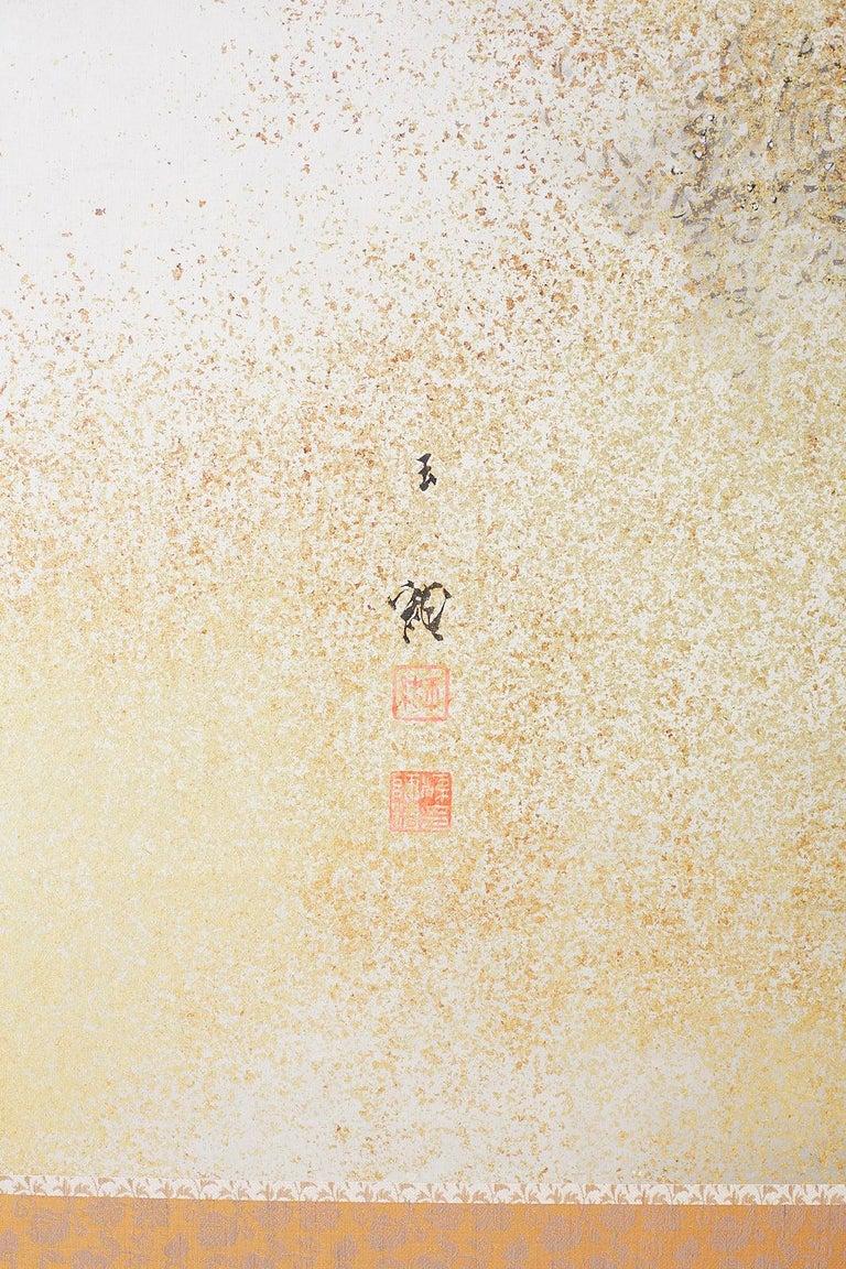 Japanese Six-Panel Meiji Screen Kinkakuji in Winter For Sale 5