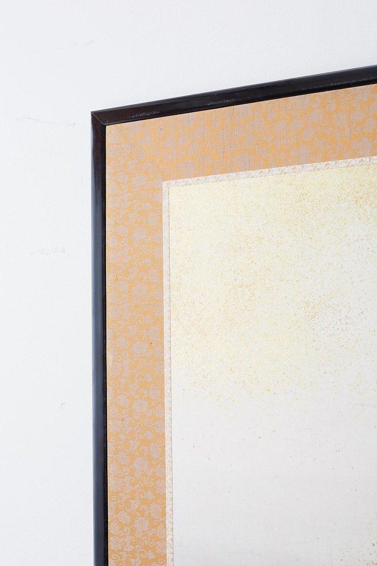 Japanese Six-Panel Meiji Screen Kinkakuji in Winter For Sale 6