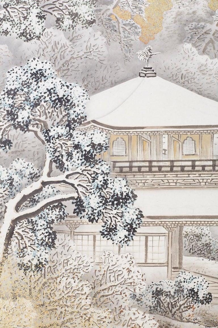 Japanese Six-Panel Meiji Screen Kinkakuji in Winter For Sale 7