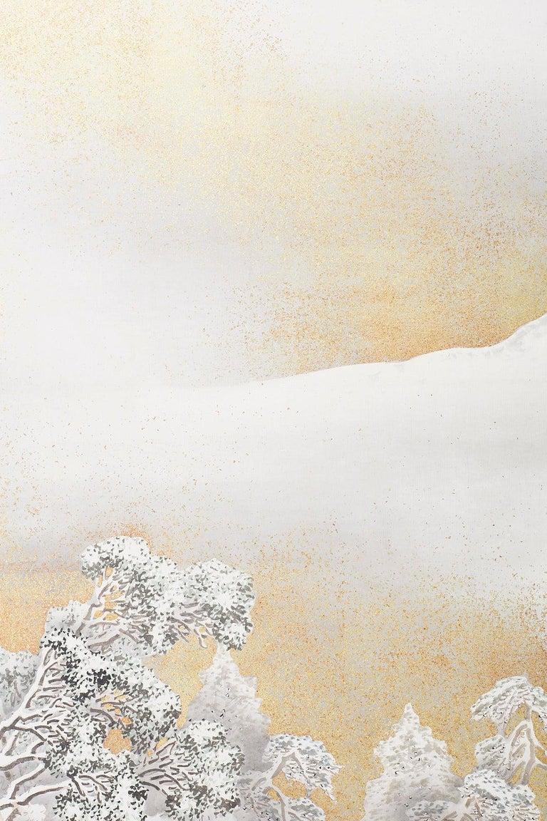 Japanese Six-Panel Meiji Screen Kinkakuji in Winter For Sale 8