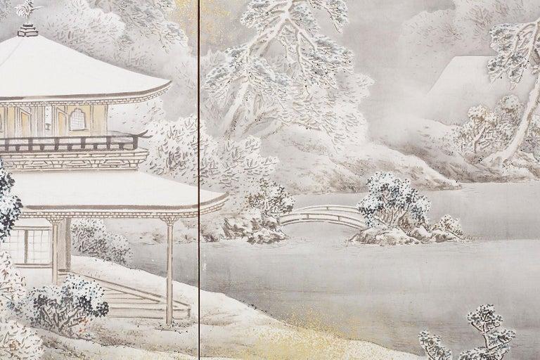 Japanese Six-Panel Meiji Screen Kinkakuji in Winter For Sale 9