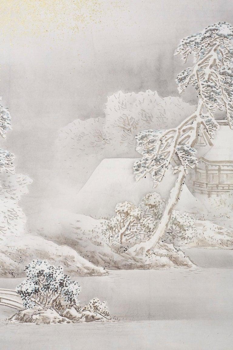 Japanese Six-Panel Meiji Screen Kinkakuji in Winter For Sale 10