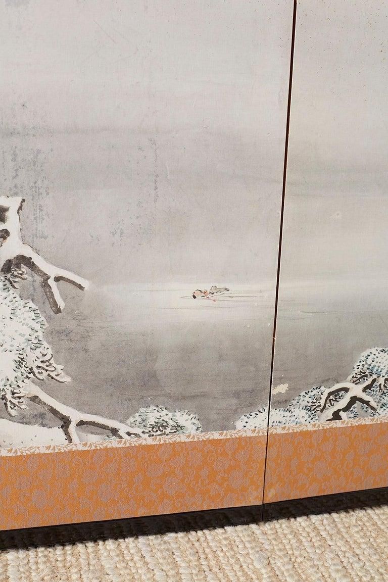Japanese Six-Panel Meiji Screen Kinkakuji in Winter For Sale 11