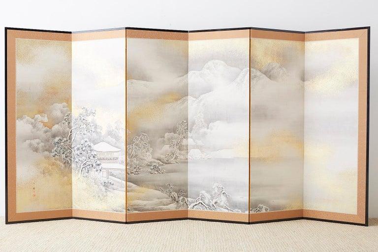 Japanese Six-Panel Meiji Screen Kinkakuji in Winter For Sale 12
