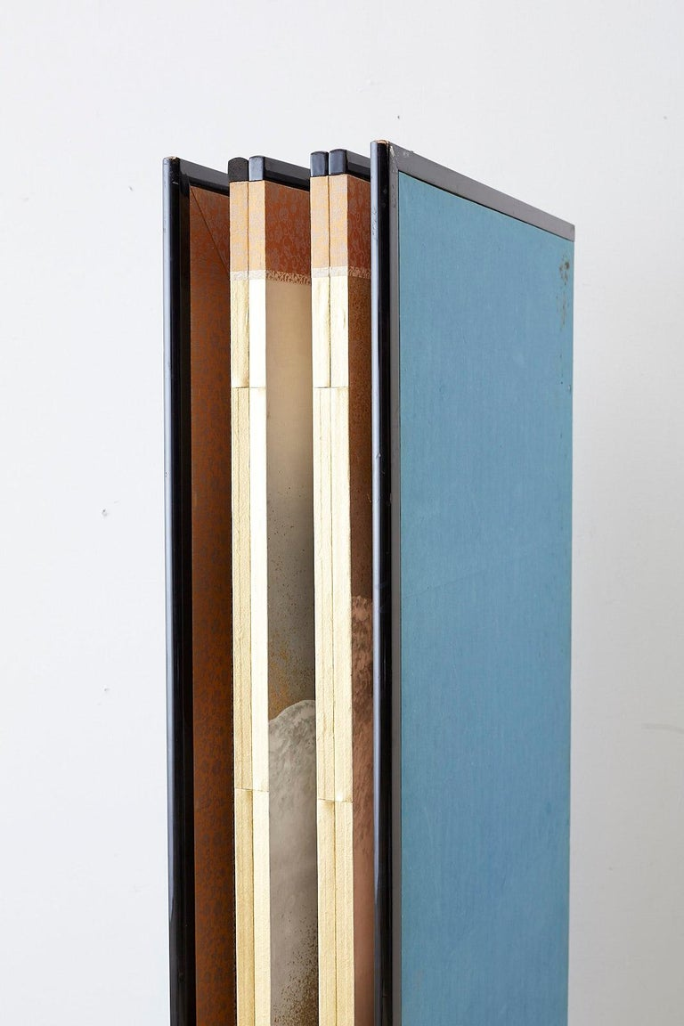Japanese Six-Panel Meiji Screen Kinkakuji in Winter For Sale 13