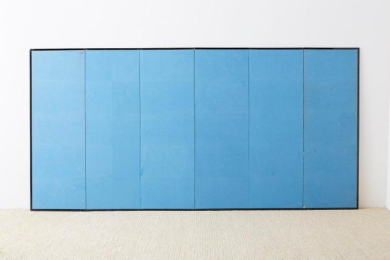 Japanese Six-Panel Meiji Screen Kinkakuji in Winter For Sale 14