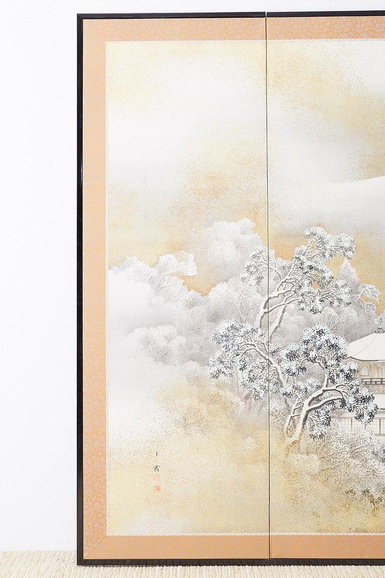 Hand-Crafted Japanese Six-Panel Meiji Screen Kinkakuji in Winter For Sale