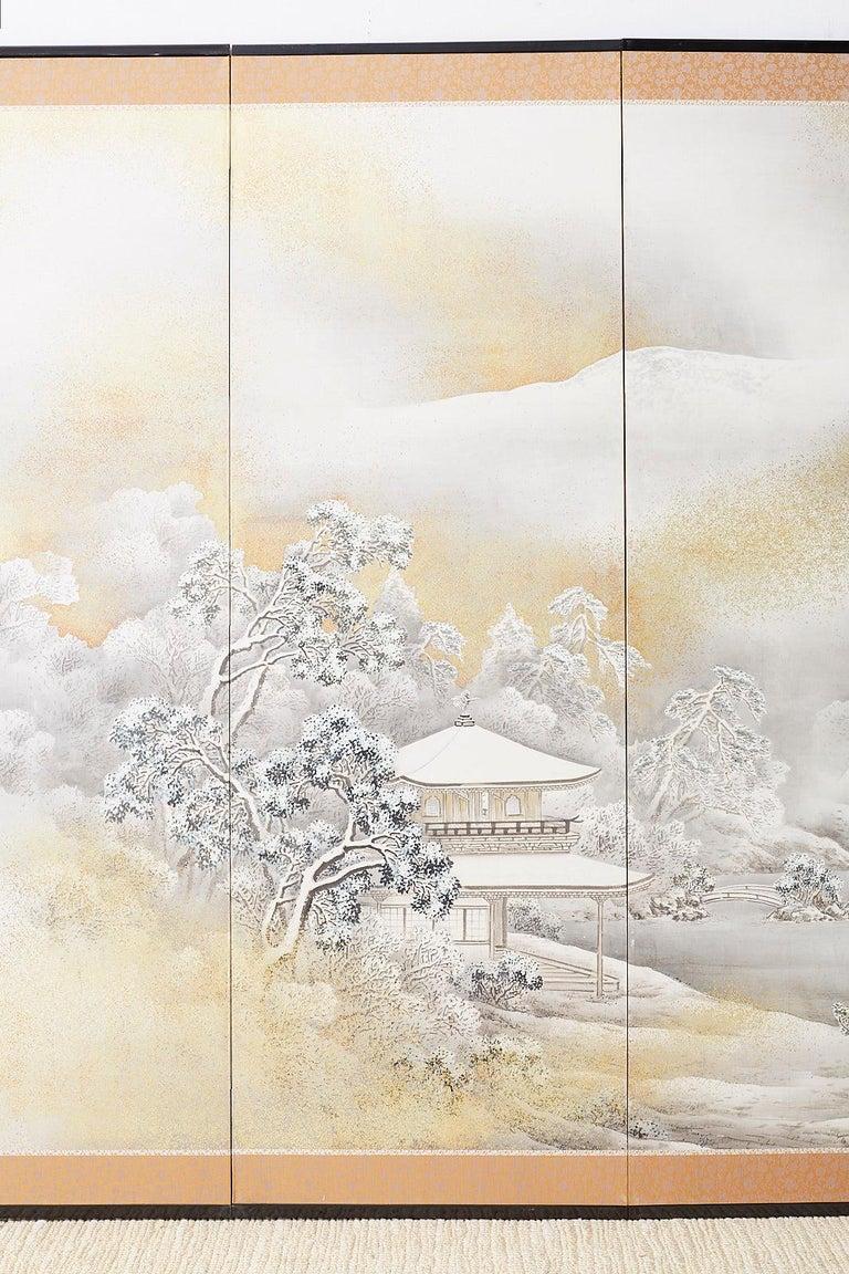 Japanese Six-Panel Meiji Screen Kinkakuji in Winter In Good Condition For Sale In Oakland, CA