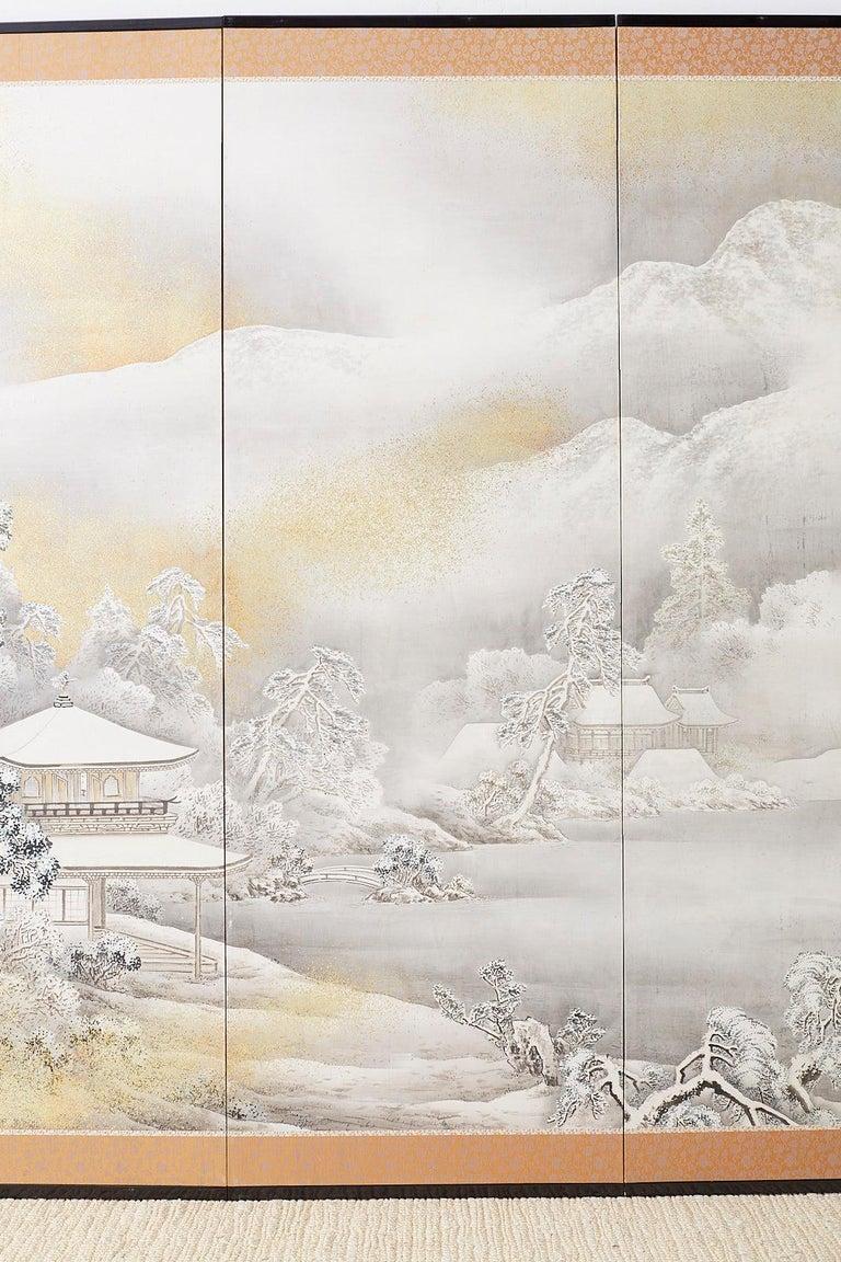 19th Century Japanese Six-Panel Meiji Screen Kinkakuji in Winter For Sale