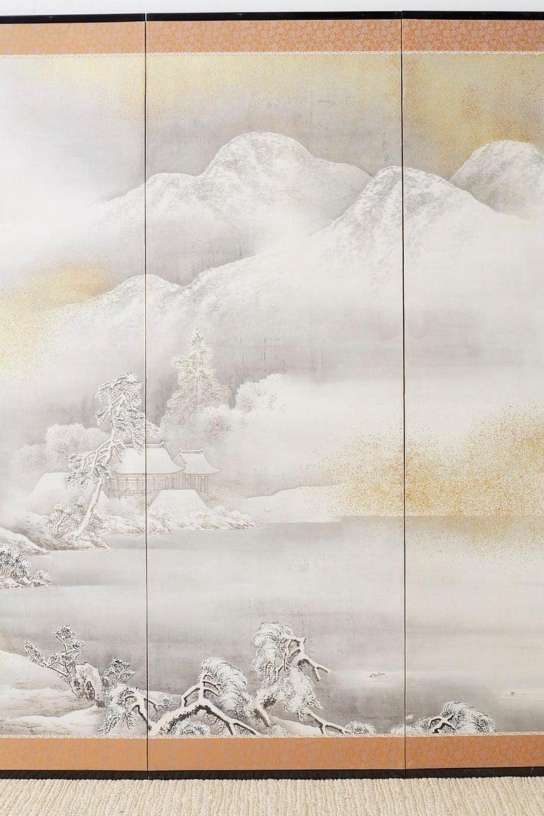 Silk Japanese Six-Panel Meiji Screen Kinkakuji in Winter For Sale