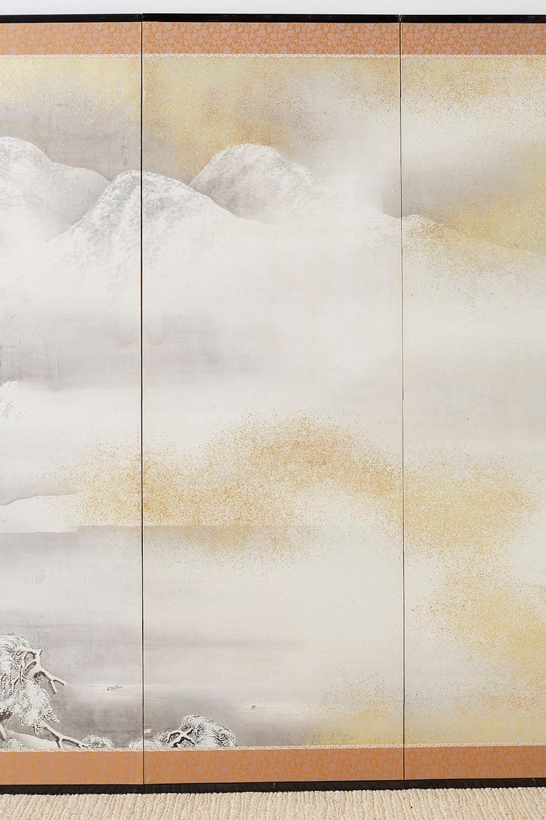 Japanese Six-Panel Meiji Screen Kinkakuji in Winter For Sale 1