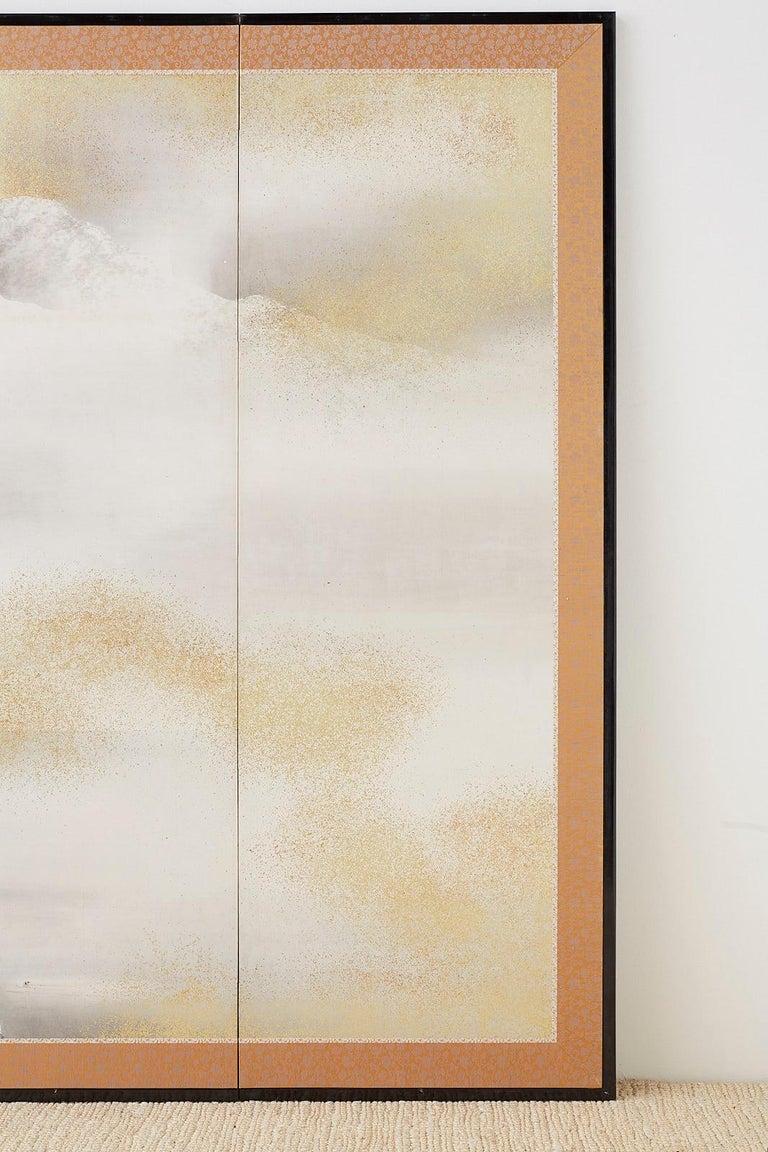 Japanese Six-Panel Meiji Screen Kinkakuji in Winter For Sale 2