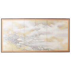 Japanese Six-Panel Meiji Screen Kinkakuji in Winter