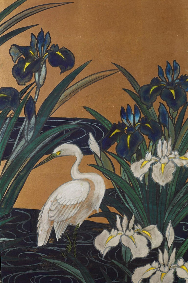 Japanese Six-Panel Meiji Screen of Egrets on Gold Leaf  For Sale 4