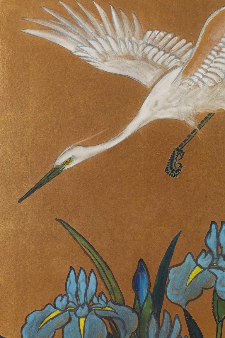 Japanese Six-Panel Meiji Screen of Egrets on Gold Leaf  For Sale 6