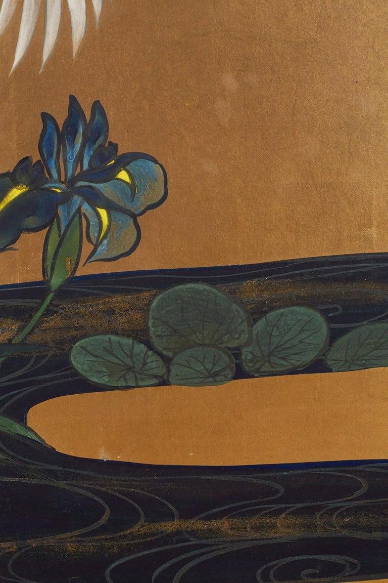 Japanese Six-Panel Meiji Screen of Egrets on Gold Leaf  For Sale 8