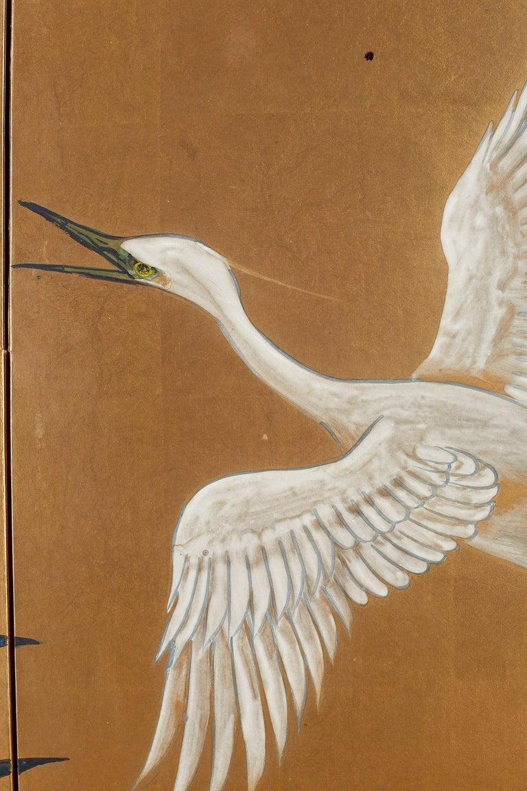 Japanese Six-Panel Meiji Screen of Egrets on Gold Leaf  For Sale 9