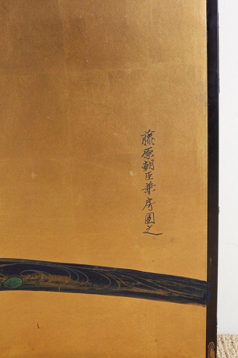 Japanese Six-Panel Meiji Screen of Egrets on Gold Leaf  For Sale 10