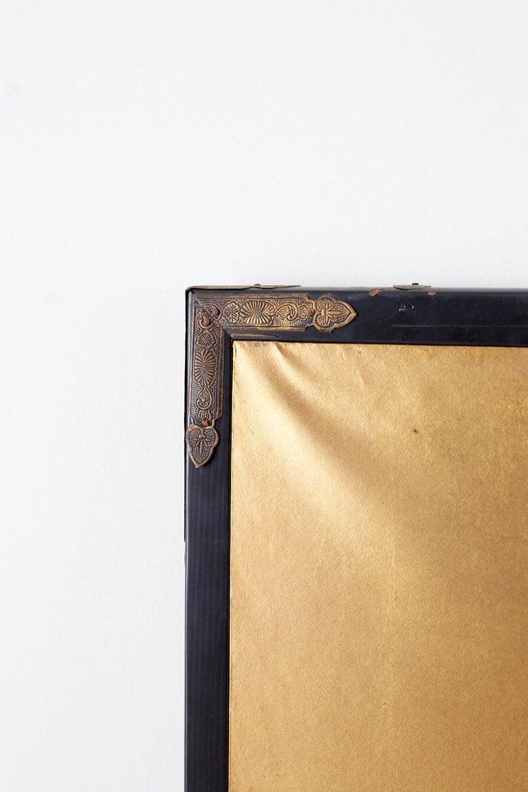 Japanese Six-Panel Meiji Screen of Egrets on Gold Leaf  For Sale 11