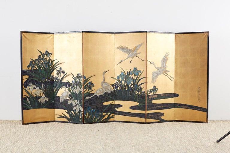 Japanese Six-Panel Meiji Screen of Egrets on Gold Leaf  For Sale 12