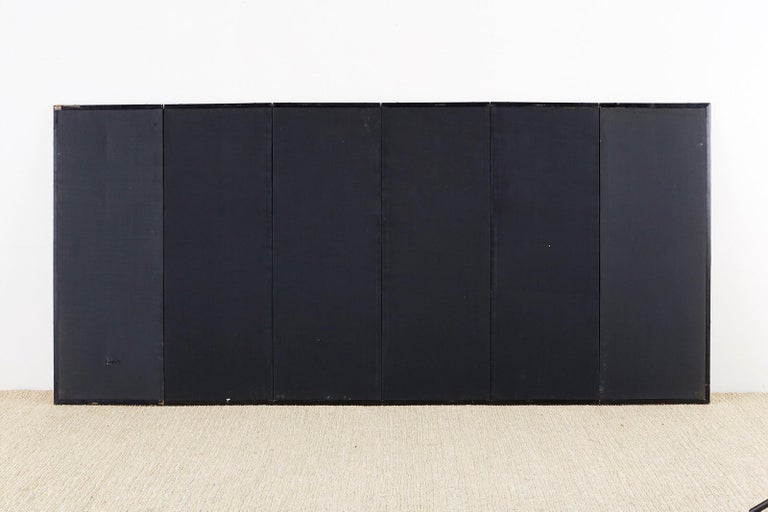 Japanese Six-Panel Meiji Screen of Egrets on Gold Leaf  For Sale 13