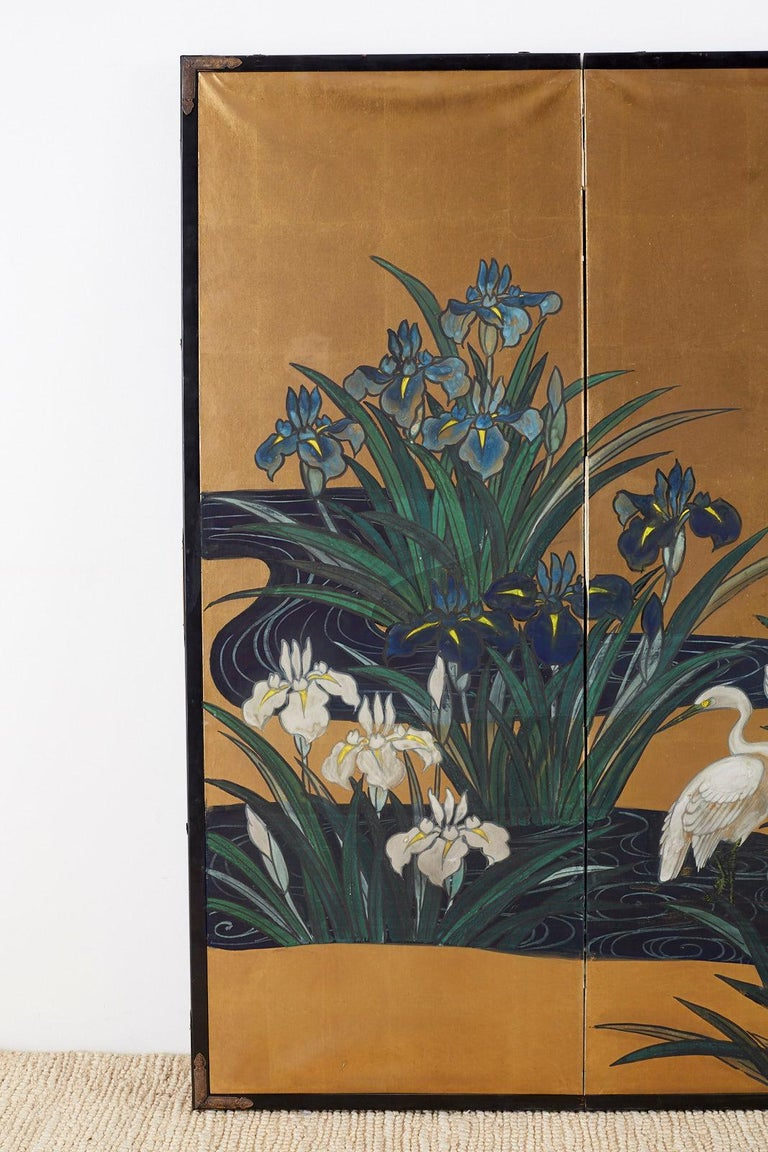 Etched Japanese Six-Panel Meiji Screen of Egrets on Gold Leaf  For Sale
