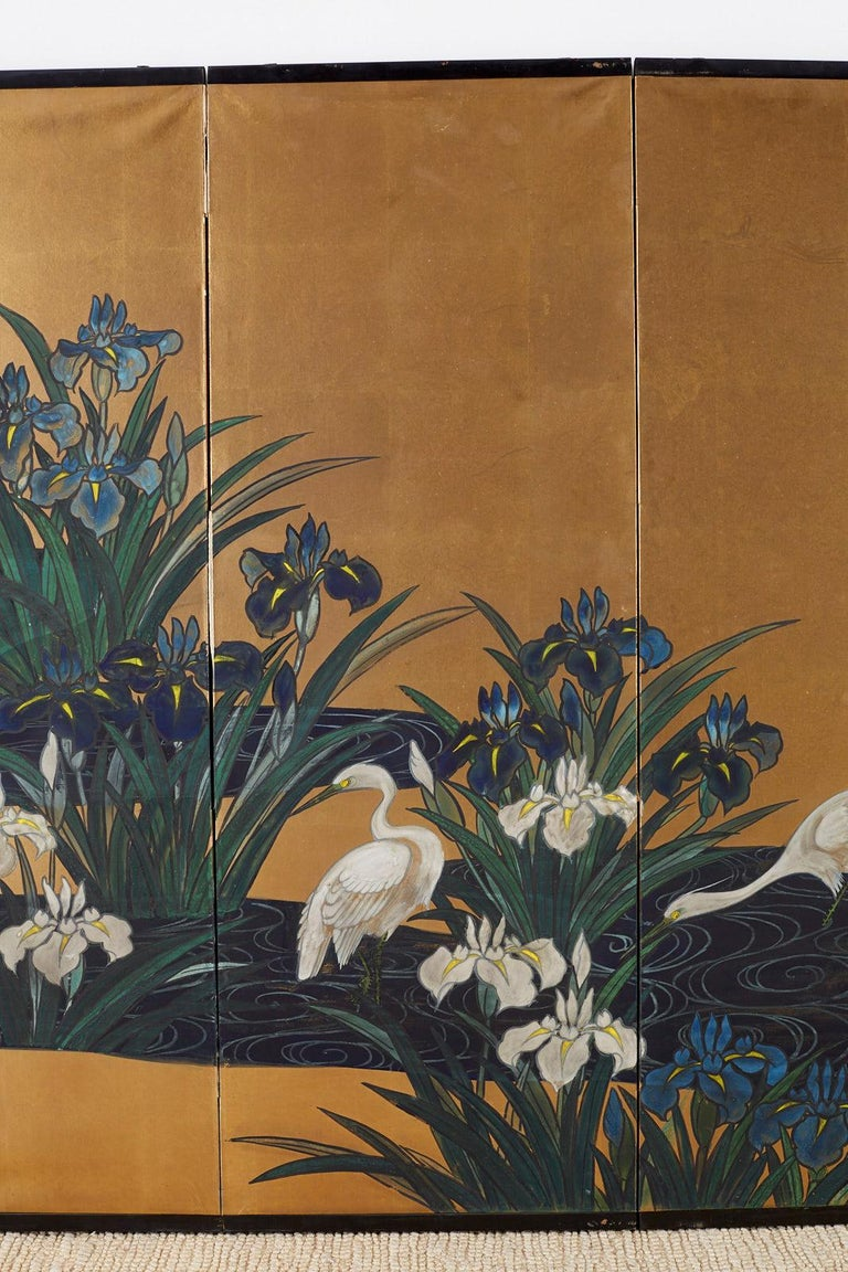 Japanese Six-Panel Meiji Screen of Egrets on Gold Leaf  In Good Condition For Sale In Oakland, CA