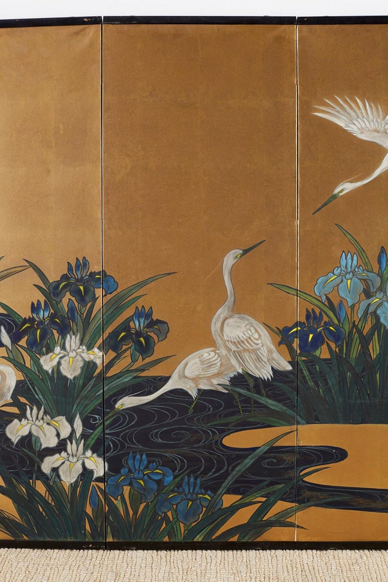 20th Century Japanese Six-Panel Meiji Screen of Egrets on Gold Leaf  For Sale
