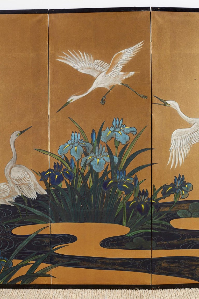 Brass Japanese Six-Panel Meiji Screen of Egrets on Gold Leaf  For Sale