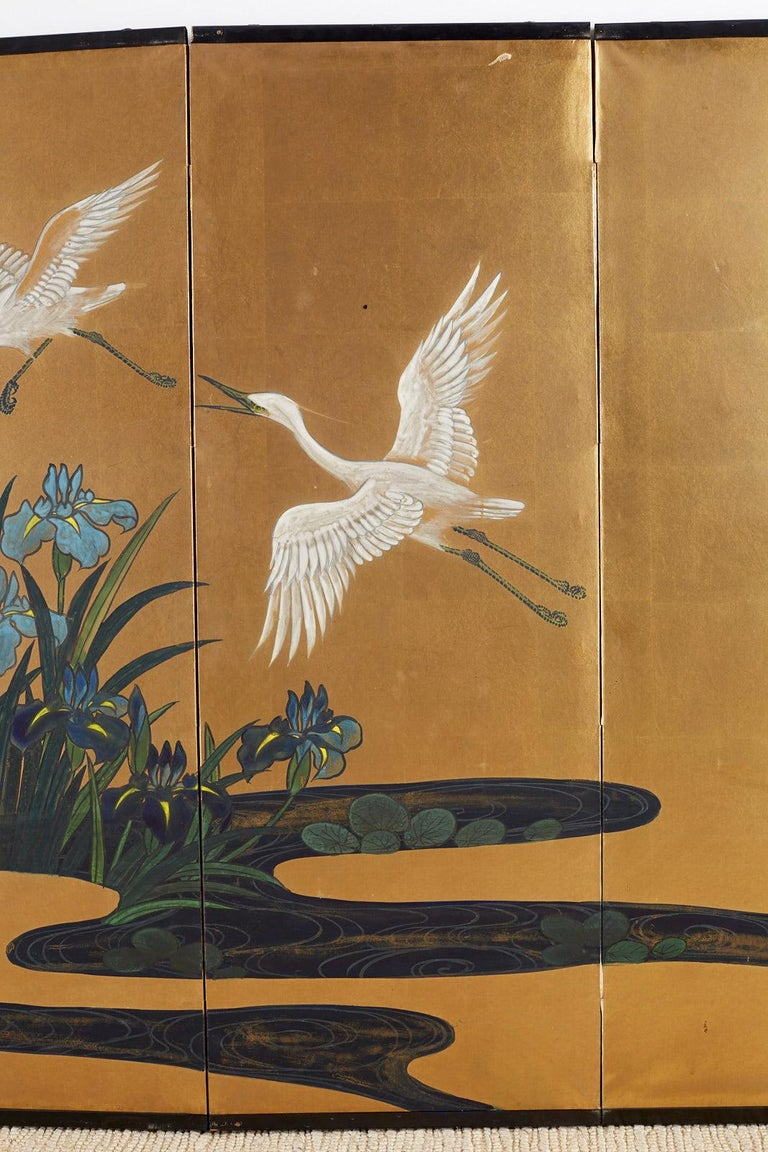 Japanese Six-Panel Meiji Screen of Egrets on Gold Leaf  For Sale 1