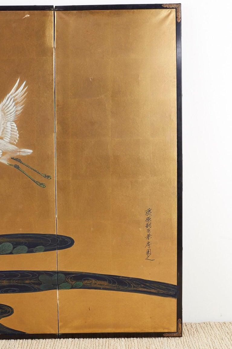Japanese Six-Panel Meiji Screen of Egrets on Gold Leaf  For Sale 2