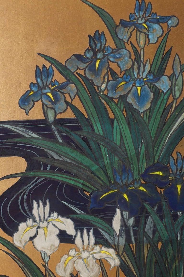 Japanese Six-Panel Meiji Screen of Egrets on Gold Leaf  For Sale 3