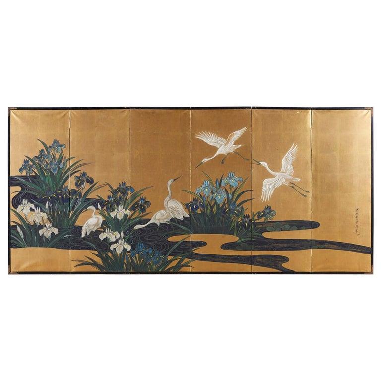 Japanese Six-Panel Meiji Screen of Egrets on Gold Leaf  For Sale