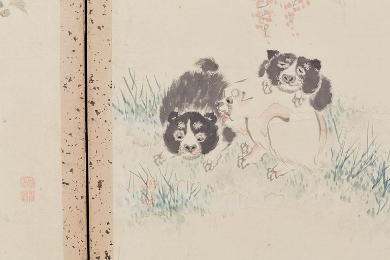 Japanese Six-Panel Meiji Screen of Flora and Fauna For Sale 6