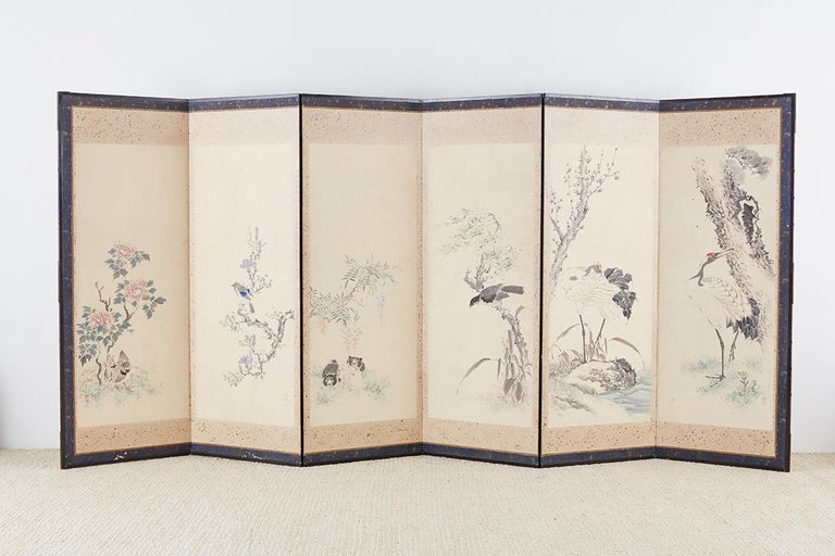 Japanese Six-Panel Meiji Screen of Flora and Fauna For Sale 13